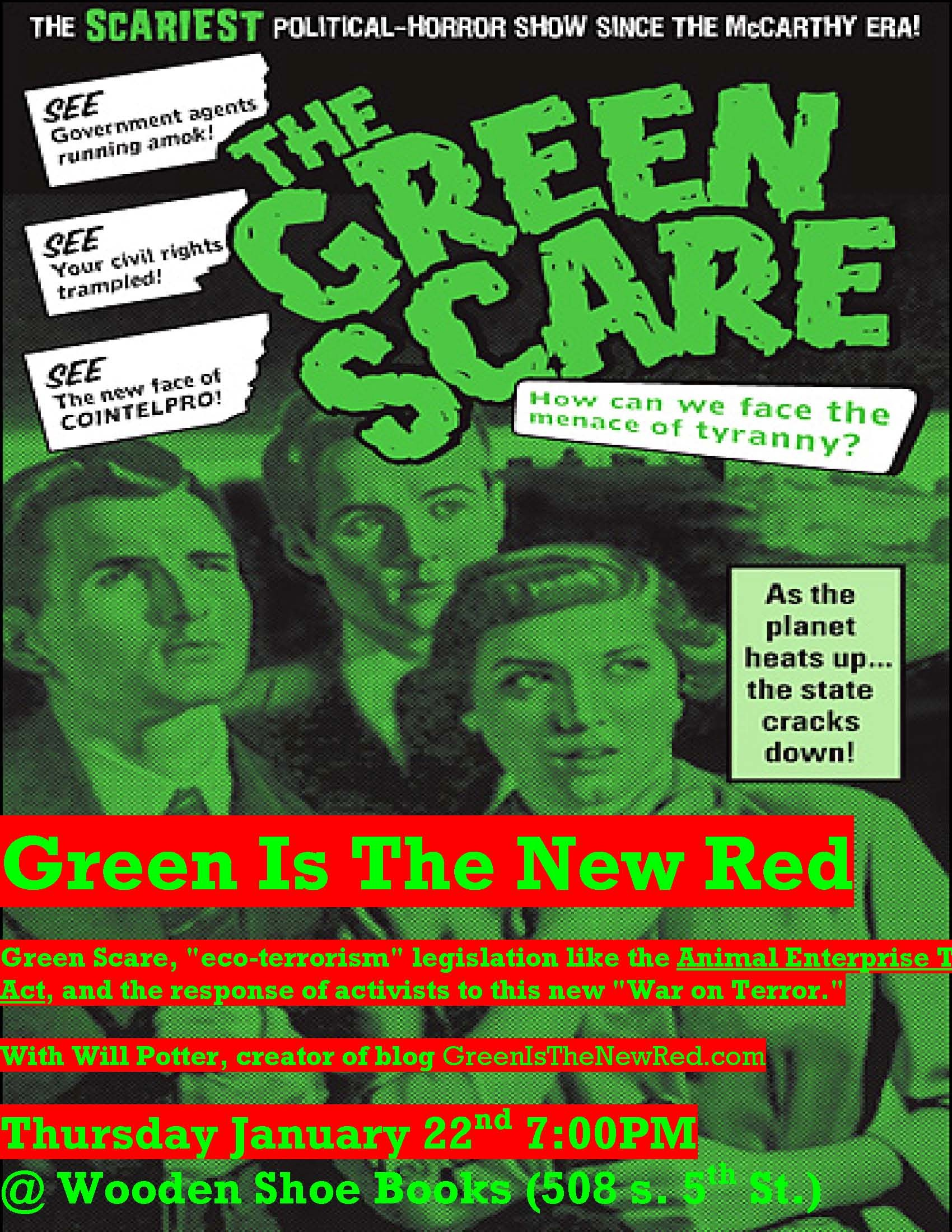 Green Scare flier for Will Potter speaking event at Wooden Shoe books in Philadelphia.
