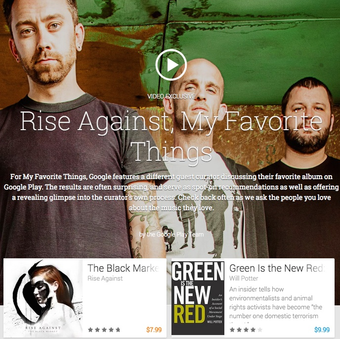 Rise Against's favorite things