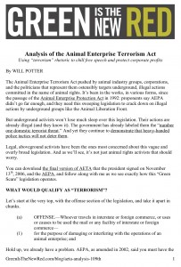 Animal Enterprise Terrorism Act analysis by Will Potter