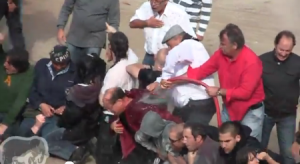 Video of bullfight protest civil disobedience in France turning violent.