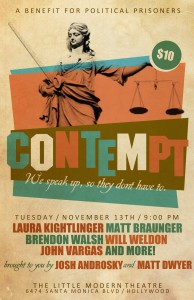 Hollywood comedy benefit poster for grand jury resisters.