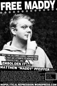 Free Maddy Pfeiffer poster for grand jury resisters.