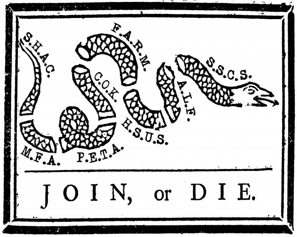 Join or Die sticker for animal rights and animal liberation activists, uniting social movements.