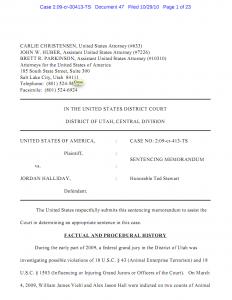 Jordan Halliday's sentencing memo.