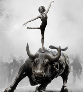 Occupy Wall Street poster dancer on bull