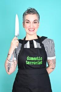 sarah kramer in her domestic terrorist funny apron.