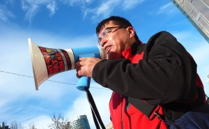 Activists protest Canada tar sands pipeline.