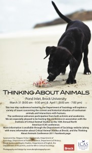 Thinking About Animals Conferencea at Brock University 2011