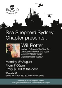 Will Potter Australia tour poster, Sydney Sea Shepherd