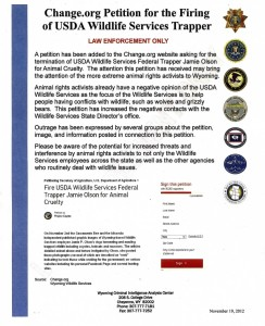 DHS fusion center in Wyoming produced this bulletin warning about a Change.org petition against USDA animal cruelty.